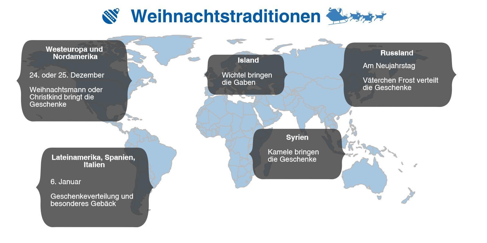 Infografik zu den weltweiten Weihnachtstraditionen