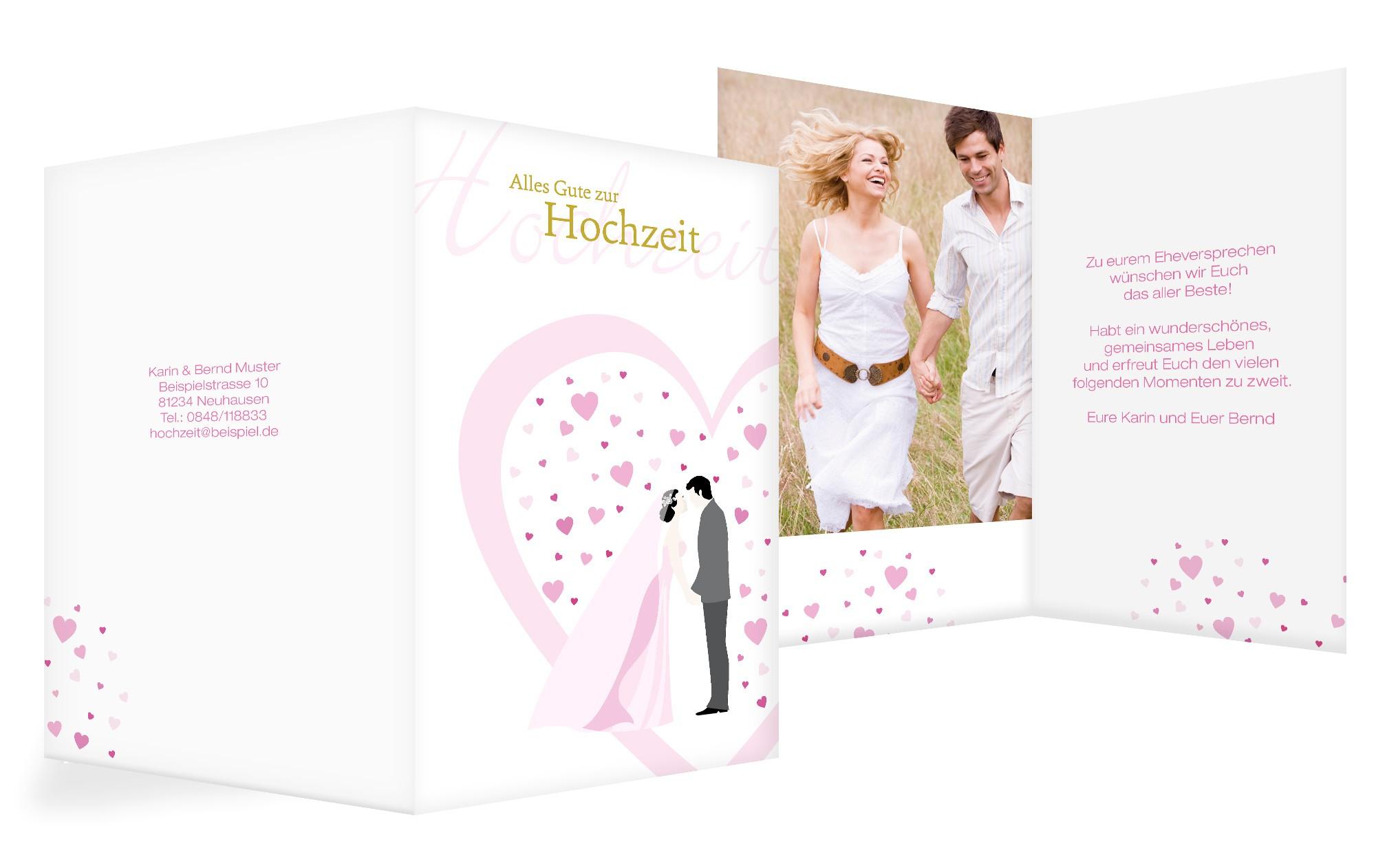 Romantische Glückwunschkarte zur Hochzeit